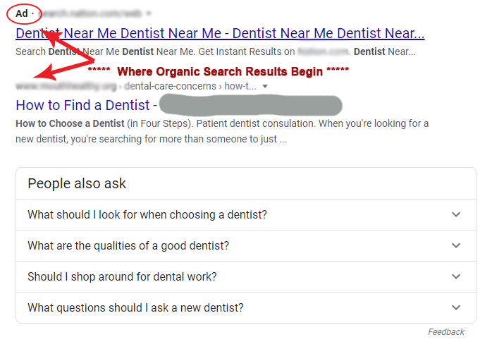 organic SEO placement sample