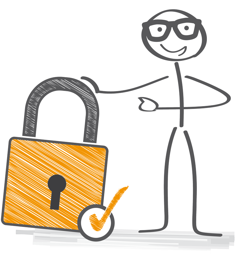 stick man with a lock and checkbox