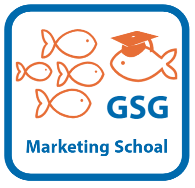 GSG Marketing Schoal - Little Gold Fish with a bigger gold fish and a graduation cap