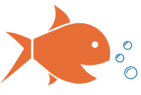 gold fish w food bubbles - GSG Fish Food Podcast Logo