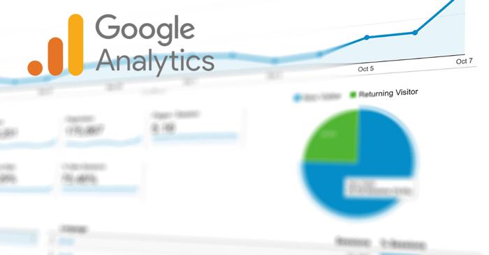 blurred screen of data with google analytics logo